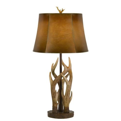 150W 3 Way Darby Antler Resin Table Lamp With Leathrette Shade