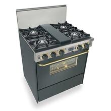 "30"" Dual Fuel, Convect, Self Clean, Open Burners, Black with Brass"