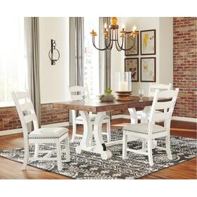 Valebeck Dining Table and 4 Chairs White/Brown