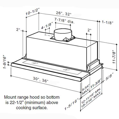 "30"" Stainless Steel Built-In Range Hood with 575 Max CFM Internal Blower"