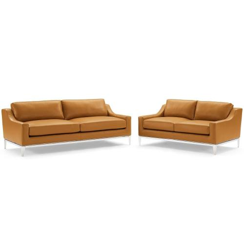 Harness Stainless Steel Base Leather Sofa and Loveseat Set in Tan