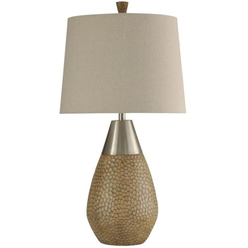 Product Image - Nicobar Molded Table Lamp with Brushed Steel Metal Accent & Hardback Shade