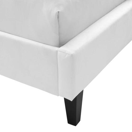 Modway - Penelope Tufted Wingback Queen Performance Velvet Platform Bed in White