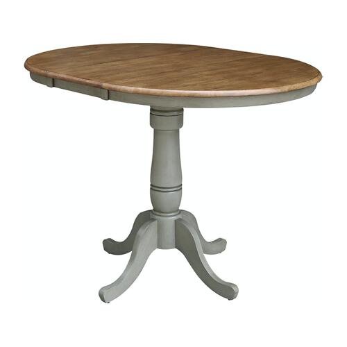 Round Extension Table in Hickory/Stone
