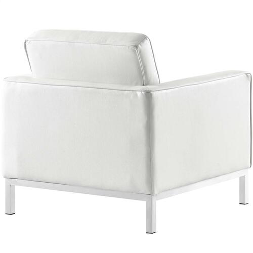 Loft Leather Armchair in Cream White