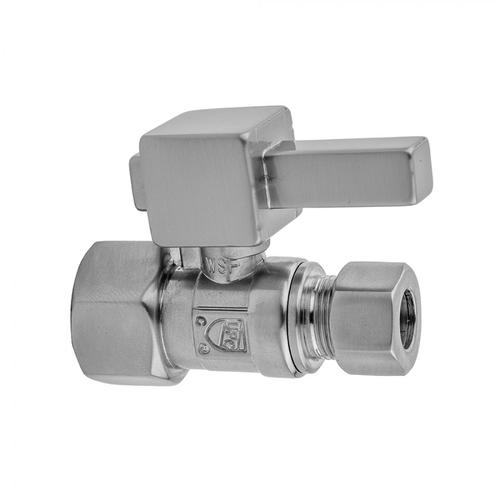 """Matte Black - Quarter Turn Straight Pattern 3/8"""" IPS x 3/8"""" O.D. Supply Valve with Square Lever"""