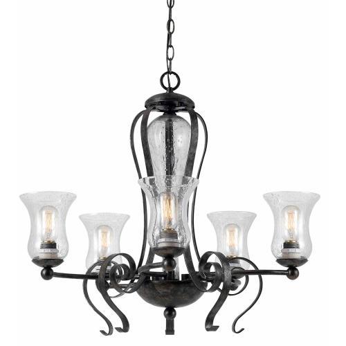 60W X 5 Metal 5 Light Chandelier (Edison Bulbs Not included)