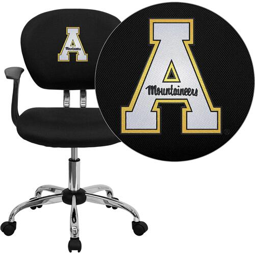Appalachian State Mountaineers Embroidered Black Mesh Task Chair with Arms and Chrome Base