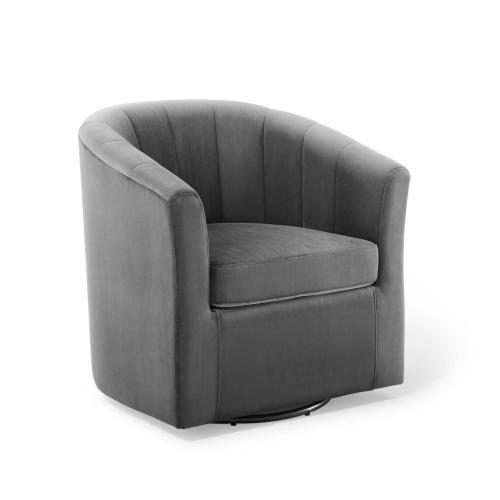 Modway - Prospect Performance Velvet Swivel Armchair in Charcoal