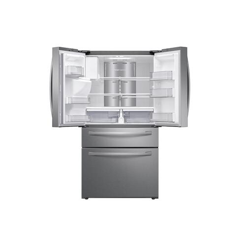 """Samsung - 22 cu. ft. 4-Door French Door, Counter Depth Refrigerator with 21.5"""" Touch Screen Family Hub™ in Stainless Steel"""