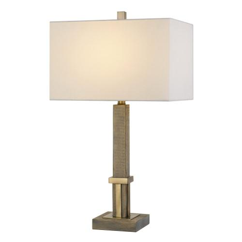 Tineo Wood Table Lamp With Hardback Rectangular Shade