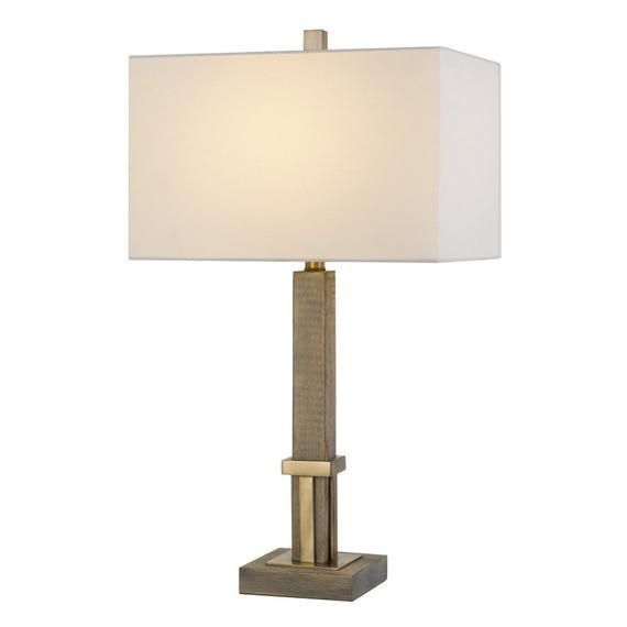 Tineo Wood Table Lamp With Hardback Rectangular Shade