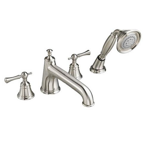 Dxv - Randall Water Saving Deck Mount Bathtub Faucet with Hand Shower with Lever Handles - Brushed Nickel