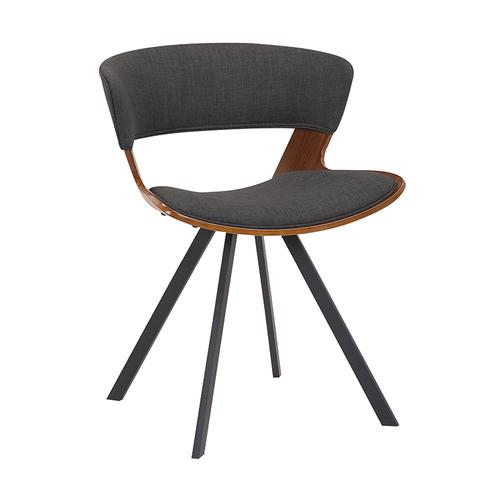 Ulric Walnut Wood and Charcoal Upholstered Dining Room Accent Chair