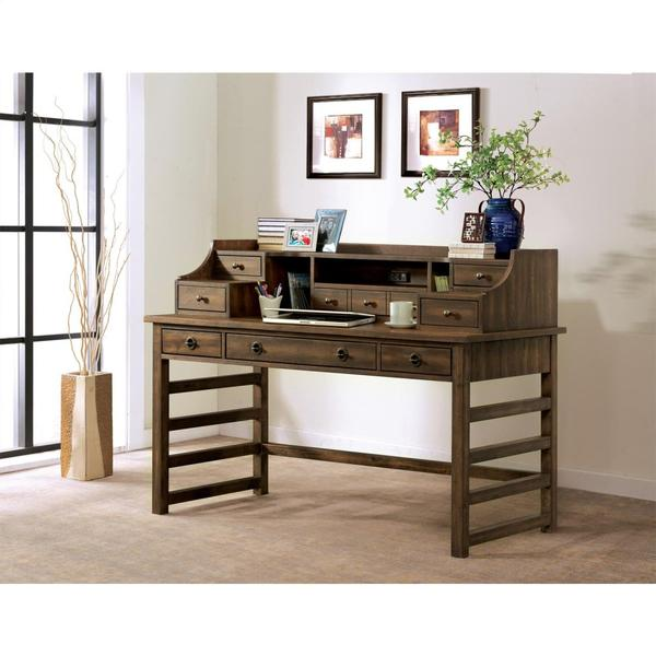 See Details - Perspectives - Leg Desk With Hutch - Brushed Acacia Finish