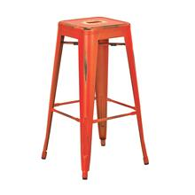 "See Details - Bristow 30"" Antique Metal Barstool, Antique Orange Finish, 2 Pack"