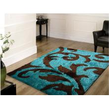 Vibrant Hand Tufted Modern Shag Lola 003 Area Rug by Rug Factory Plus - 5' x 7' / Brown Turquoise