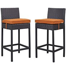Lift Bar Stool Outdoor Patio Set of 2 in Espresso Orange