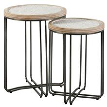 Ryder  22in X 25in Height  Set of 2 Nested Round Tables Made of Metal & Fir Wood with Woven Rattan