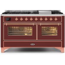 Majestic II 60 Inch Dual Fuel Natural Gas Freestanding Range in Burgundy with Copper Trim