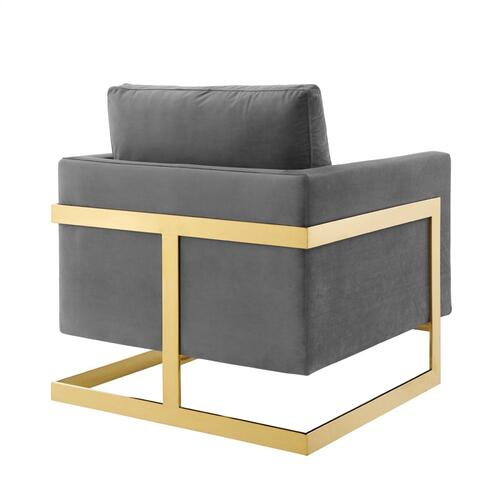 Posse Performance Velvet Accent Chair in Gold Gray