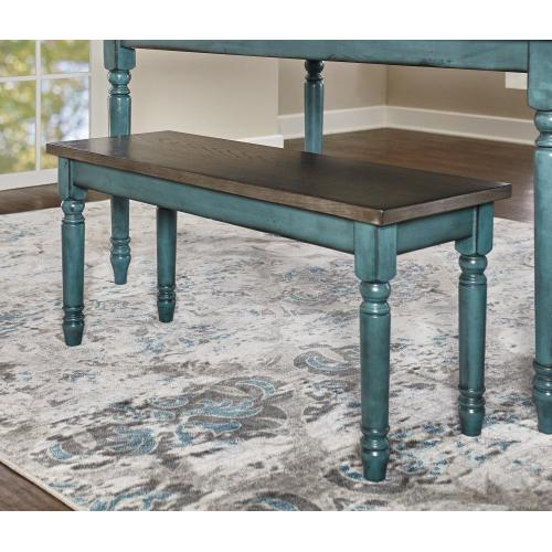 Wood Top and Turned Legs Bench, Teal Blue and Burnished Smoke