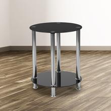 See Details - Riverside Collection Black Glass End Table with Shelves and Stainless Steel Frame