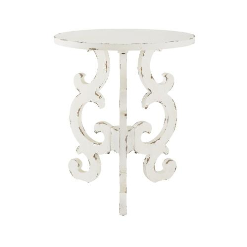 Round Top End Table, Distressed White