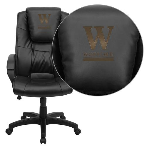 Wofford College Terrier Embroidered Black Leather Executive Office Chair