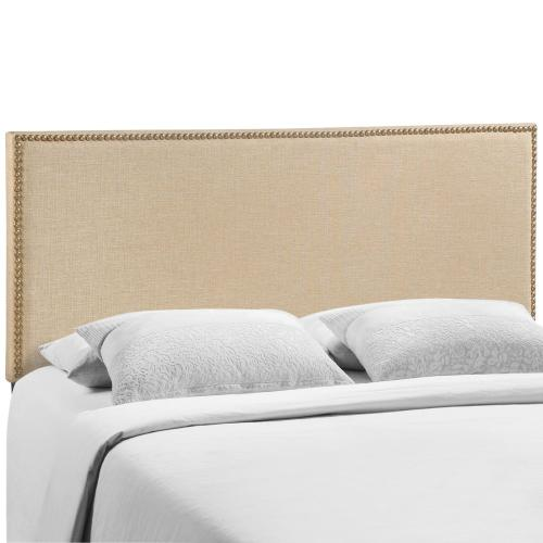 Region Nailhead Queen Upholstered Headboard in Cafe