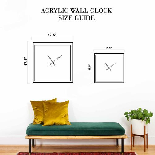 Grako Design - Woman With Hat Round Square Acrylic Wall Clock