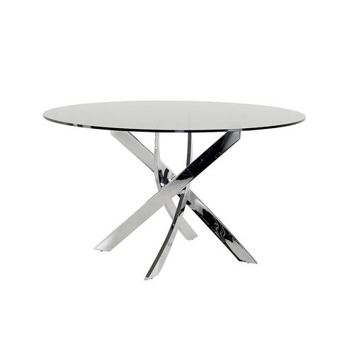 Modrest Pyrite Modern Smoked Glass & Chrome Round Dining Table