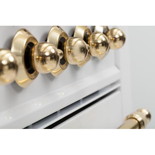 Nostalgie 48 Inch Dual Fuel Liquid Propane Freestanding Range in White with Brass Trim