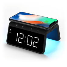 See Details - Wireless Charging Alarm Clock with Multi-Color Nightlight