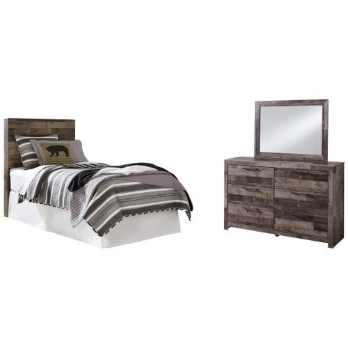 Twin Panel Headboard With Mirrored Dresser