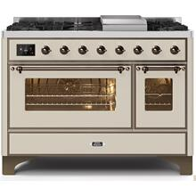 Majestic II 48 Inch Dual Fuel Natural Gas Freestanding Range in Antique White with Bronze Trim