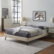 Loryn Queen Fabric Bed Frame with Round Splayed Legs in Beige