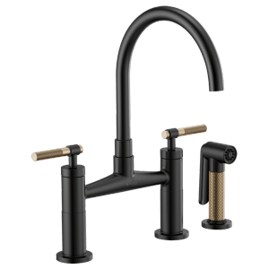 Bridge Faucet With Arc Spout and Knurled Handle Product Image