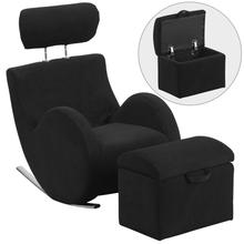 HERCULES Series Black Fabric Rocking Chair with Storage Ottoman