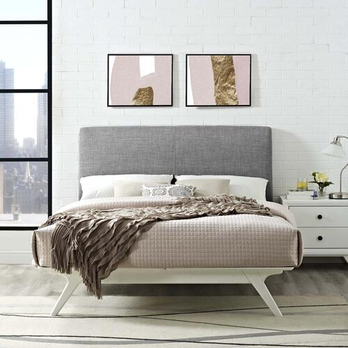 Tracy King Bed in White Gray