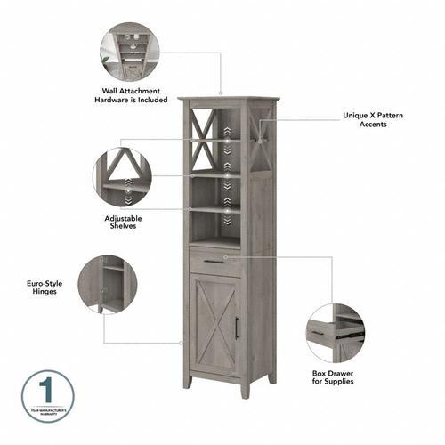 Key West Bathroom Tall Narrow Bookcase Cabinet - Driftwood Gray