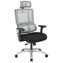 Vertical Grey Mesh Back Chair With Silver Base With Headrest