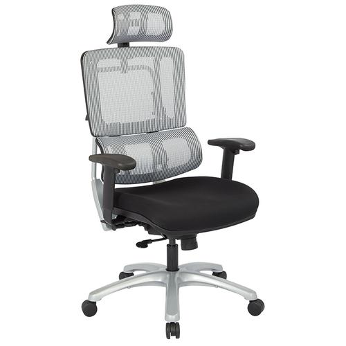 Office Star - Vertical Grey Mesh Back Chair With Silver Base With Headrest