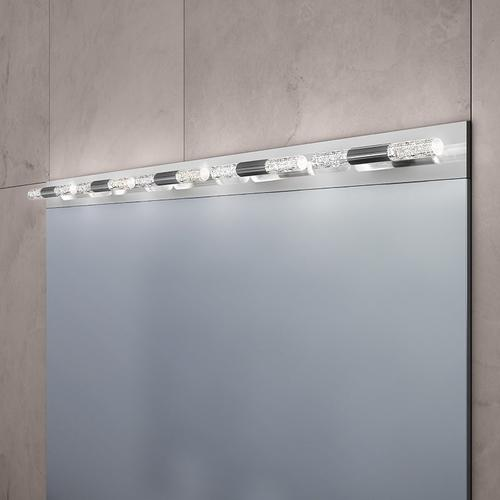 Sonneman - A Way of Light - Crystal Rods LED Bath Bar [Size=4-Light, Color/Finish=Satin White w/Ribbed Seeded Crystal]