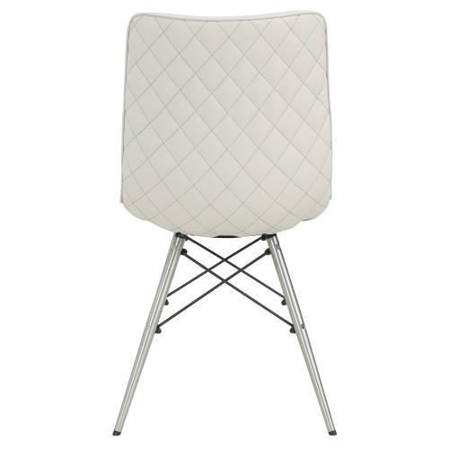 Blaine KD PU Chair Stainless Steel Legs, Light Cream