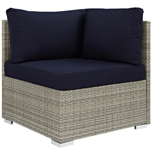 Repose 6 Piece Outdoor Patio Sunbrella® Sectional Set in Light Gray Navy