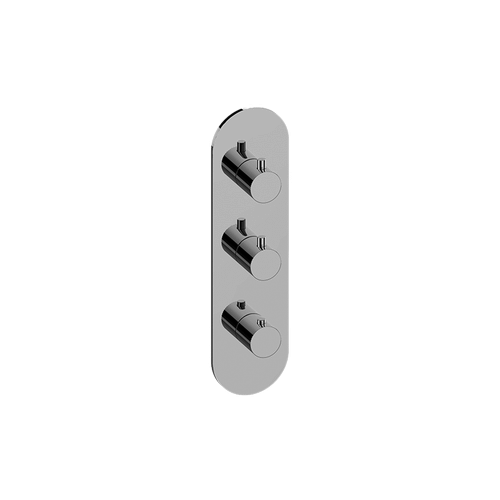 Concealed thermostatic + 1 diverter with 2 outlets + 1 diverter with 3 outlets - exposed parts