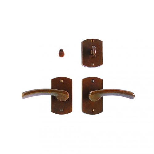 "Curved Privacy Set - 2 1/2"" x 4 1/2"" Silicon Bronze Brushed"