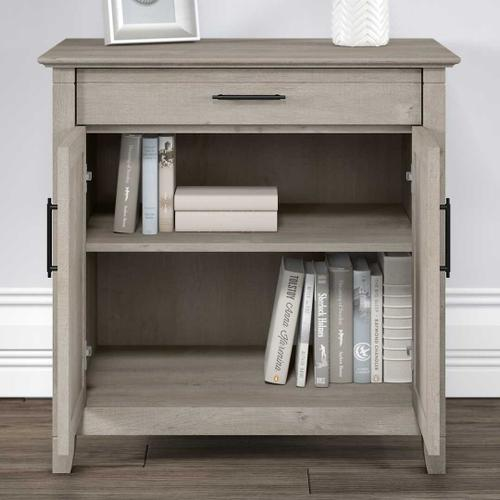 Bush Furniture - Secretary Desk with Keyboard Tray and Storage Cabinet, Washed Gray