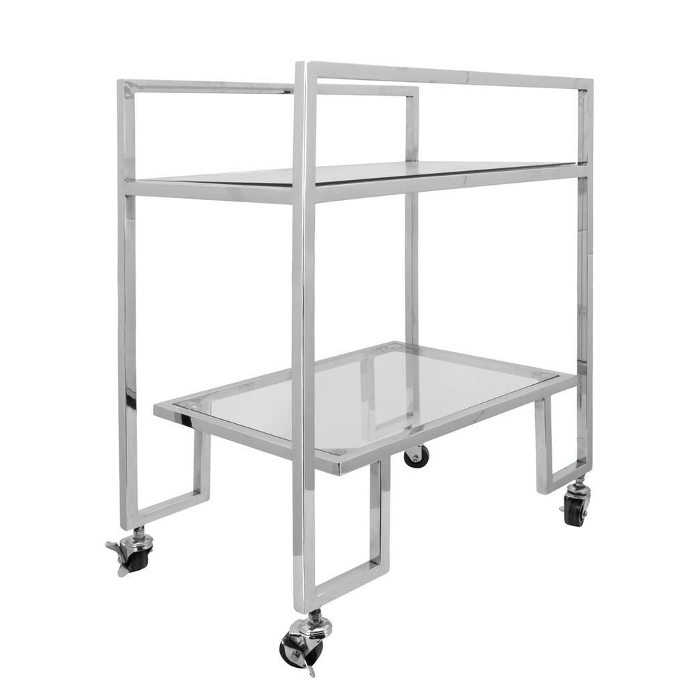 See Details - Metal, 26x32 2-layered Bar Cart, Silver
